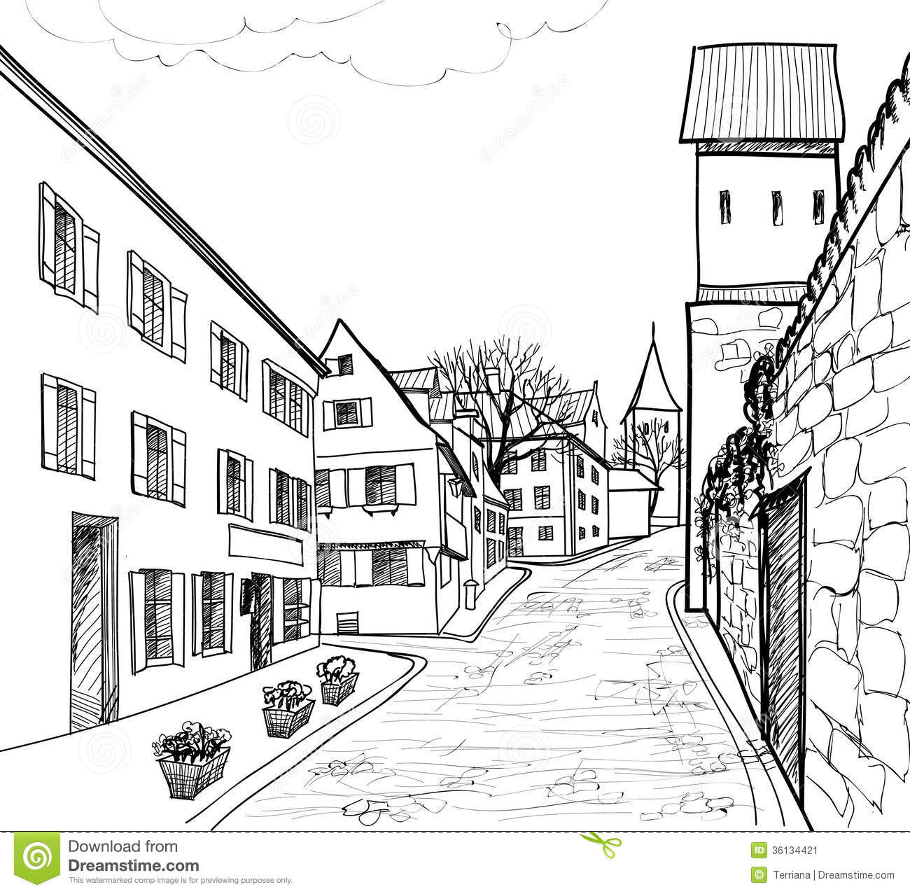 old european town street  stock illustration  image of