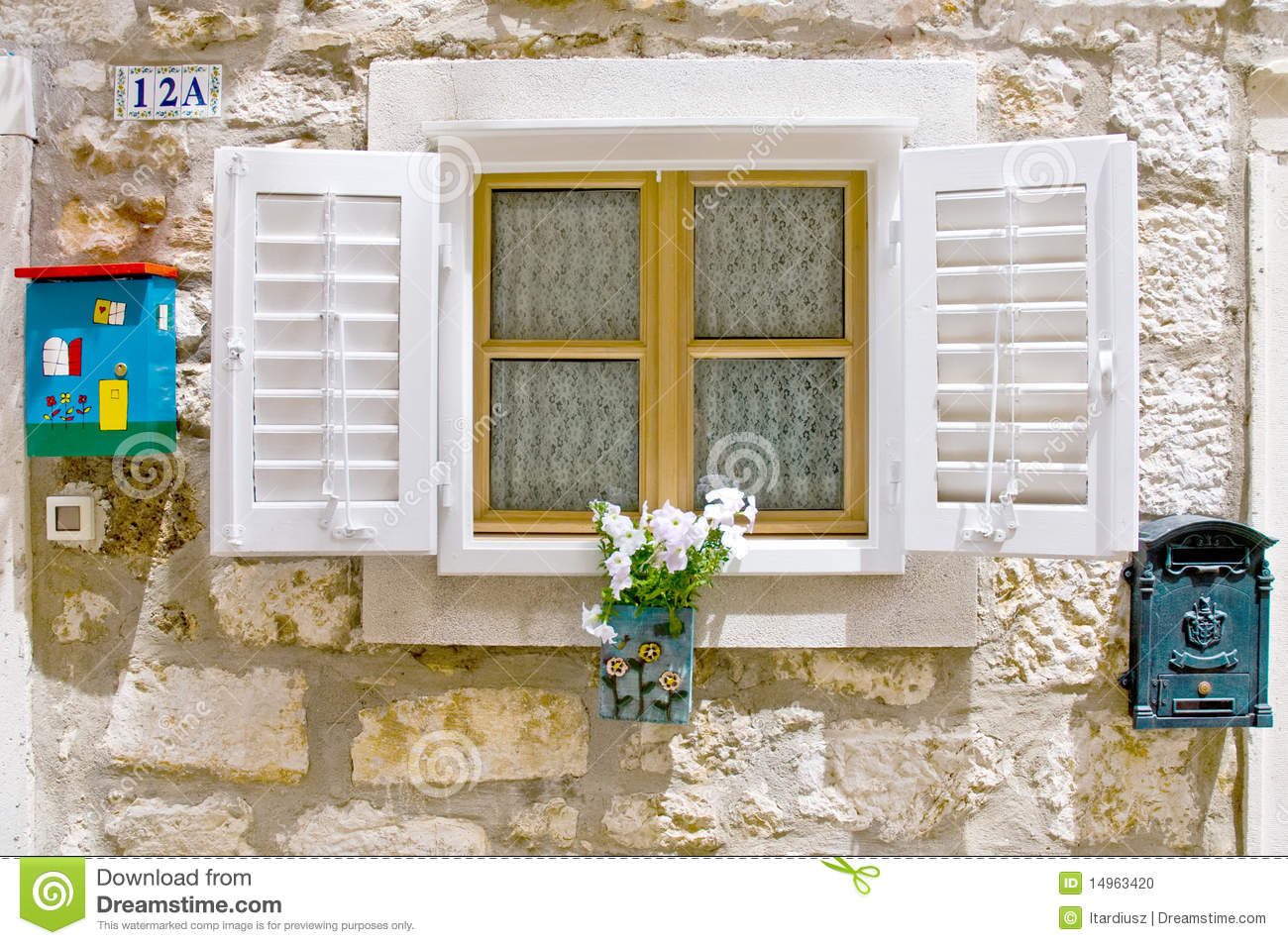 Old European Window With Shutters Stock Photo Image