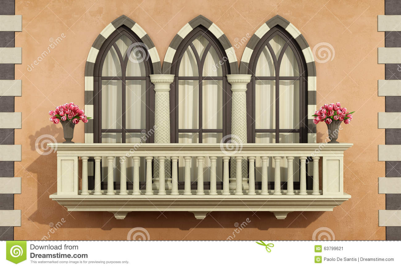 old facade with classic balcony balustrade stock illustration
