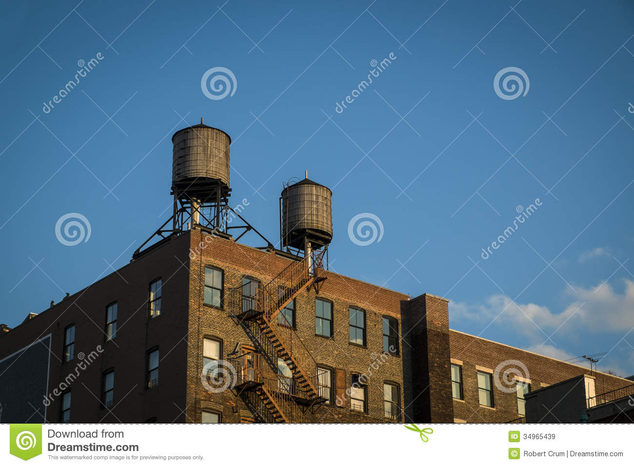 Old Factory With Water Towers New York City Stock Image