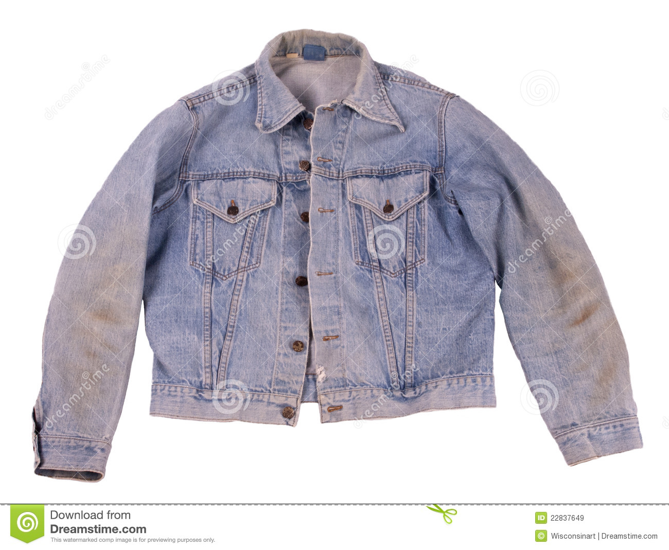 Old Faded Denim Blue Jean Levi Jacket Isolated Royalty Free Stock