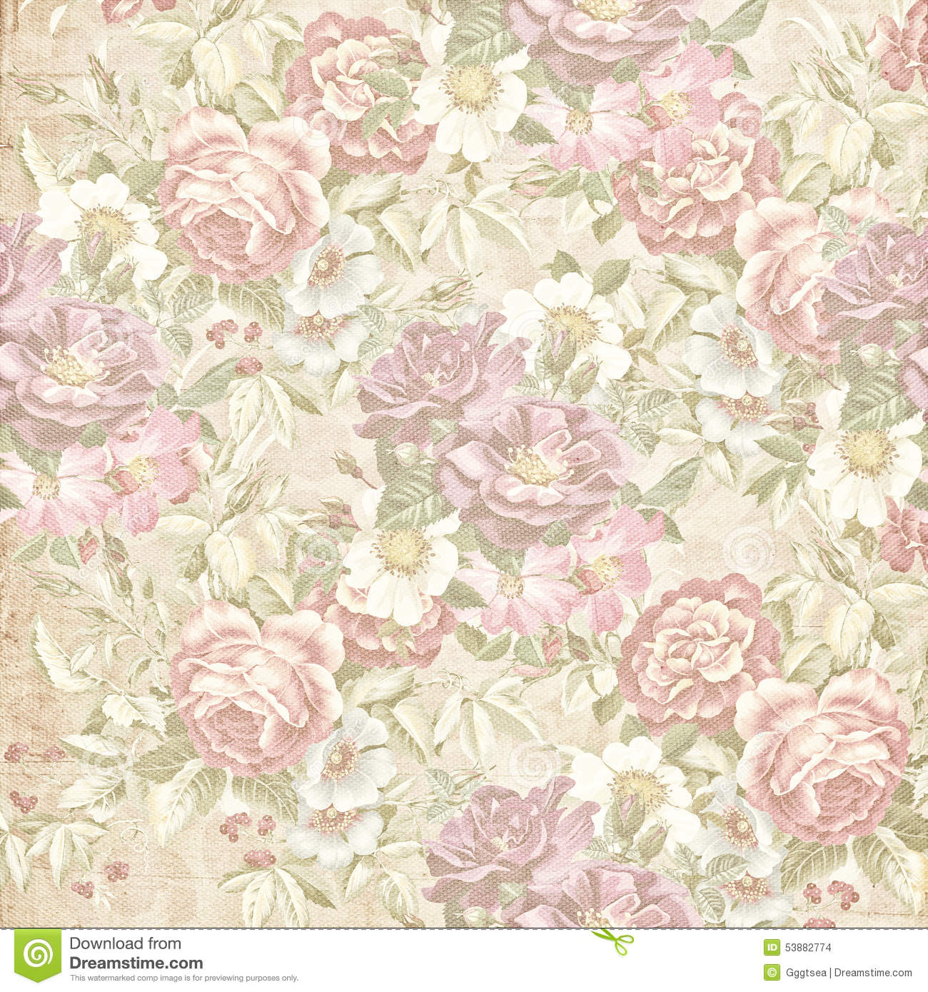 Old Faded Floral Wallpaper Stock Photo. Image Of Floral