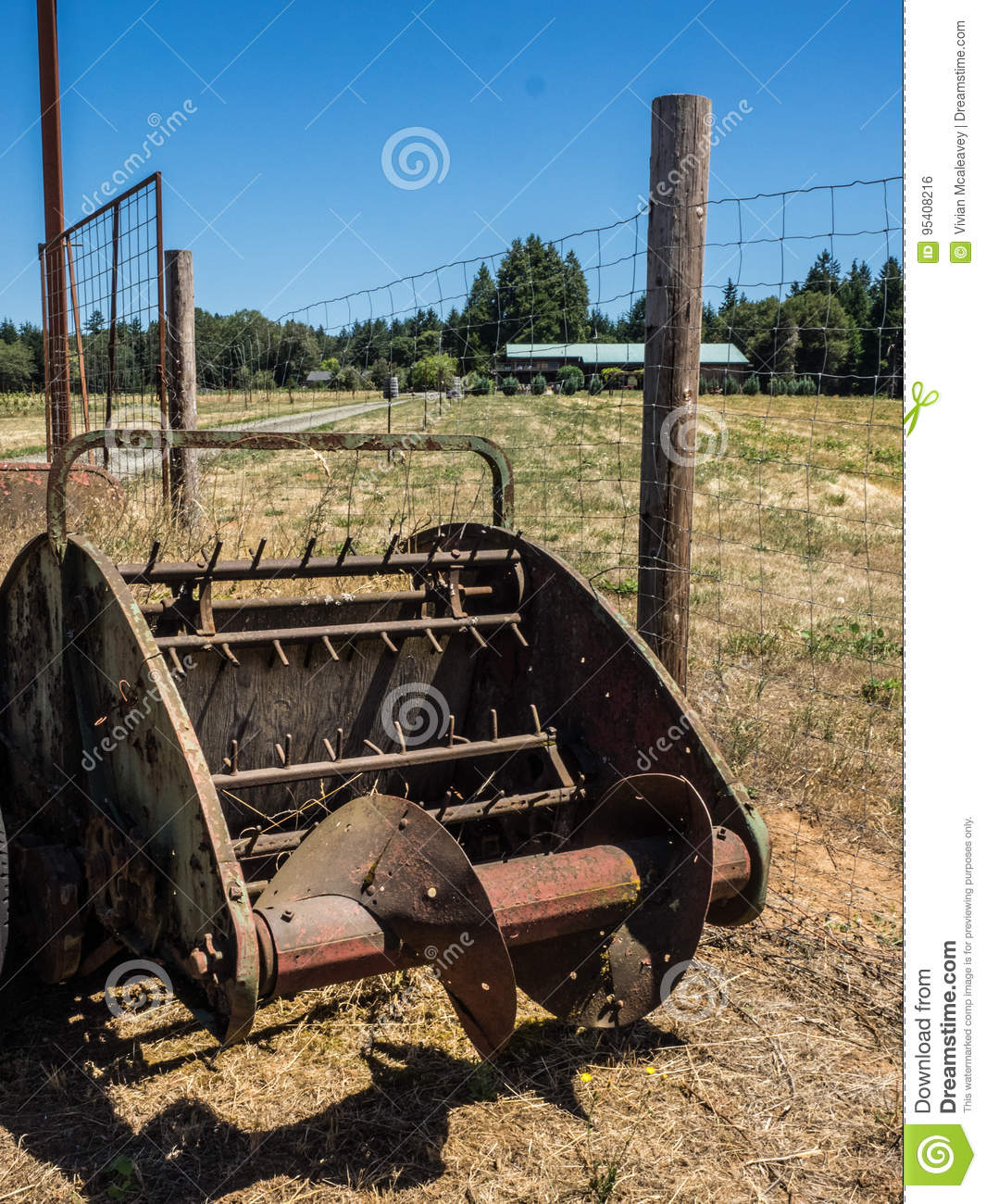 Old Farm Equipment At Vineyard Stock Photo Image Of Display