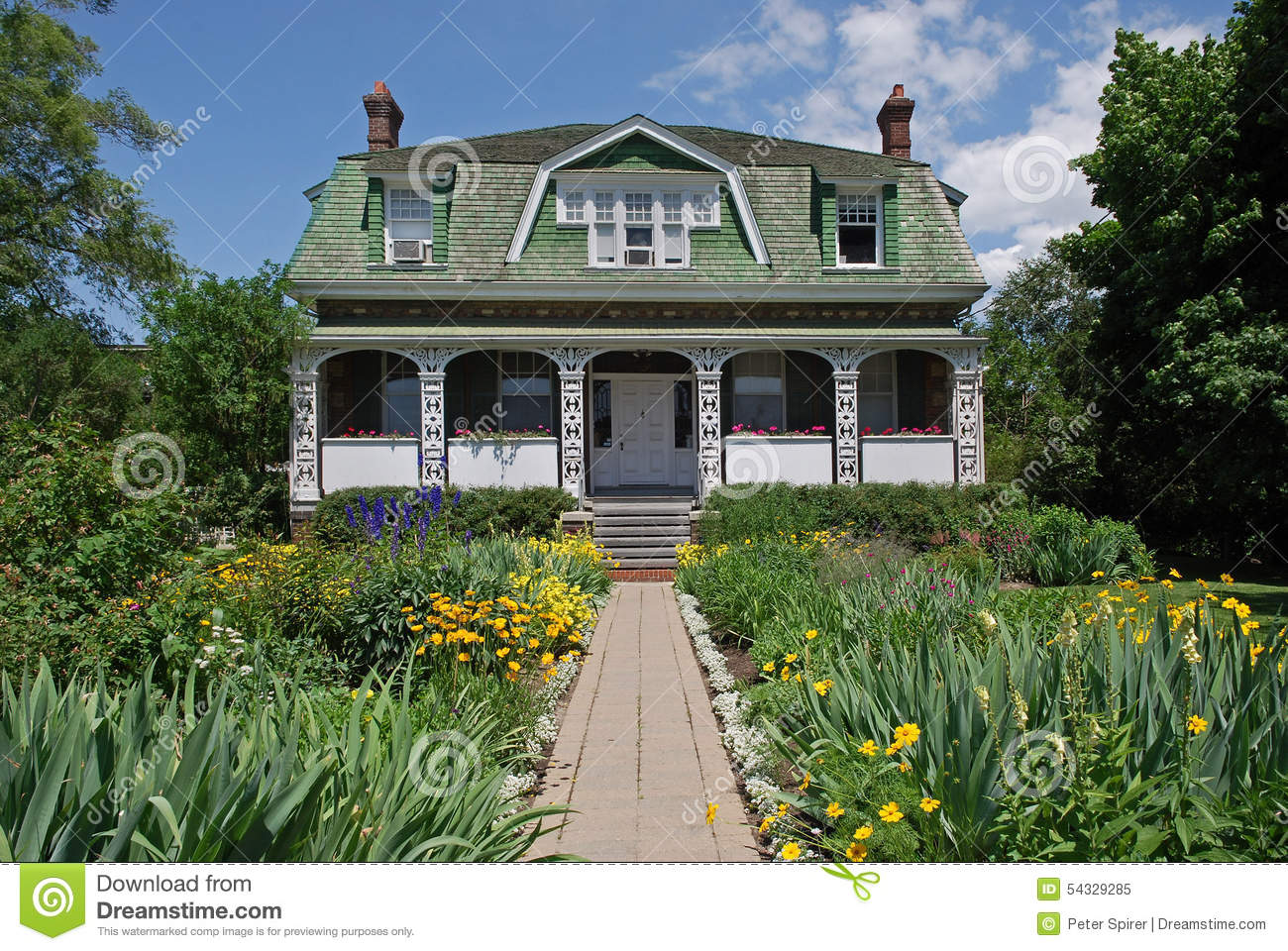 Old farm house stock image image of farm garden trees for Classic house with flower garden