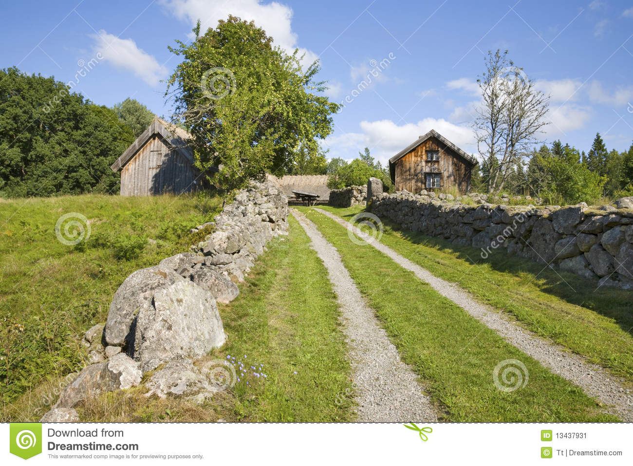 Landscaping Around An Old Farmhouse : Old farm landscape stock image