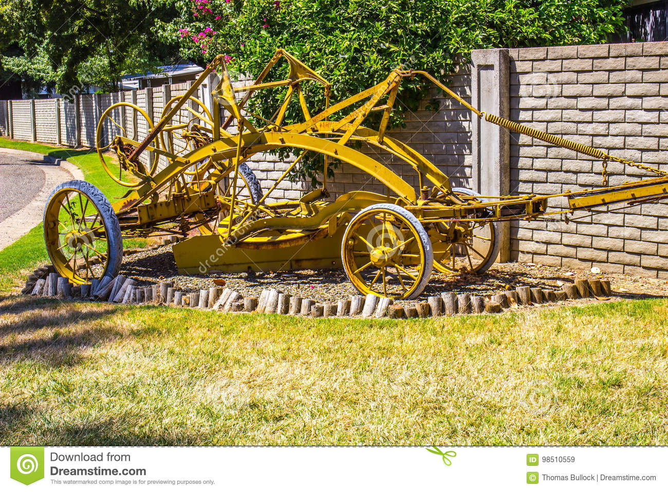 Old Farm Pull Plow On Display Stock Image - Image of green