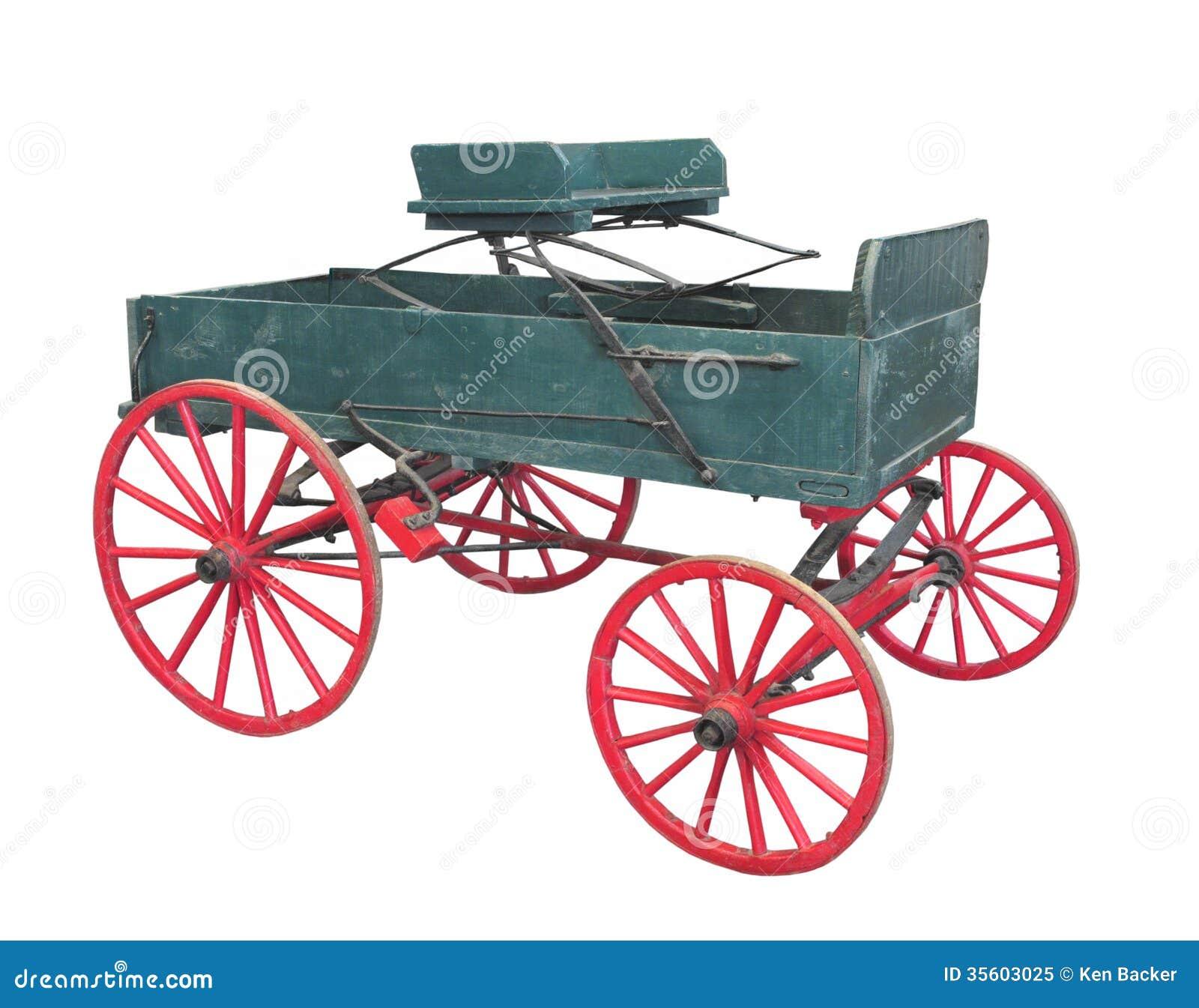 Old farm wagon buckboard isolated.