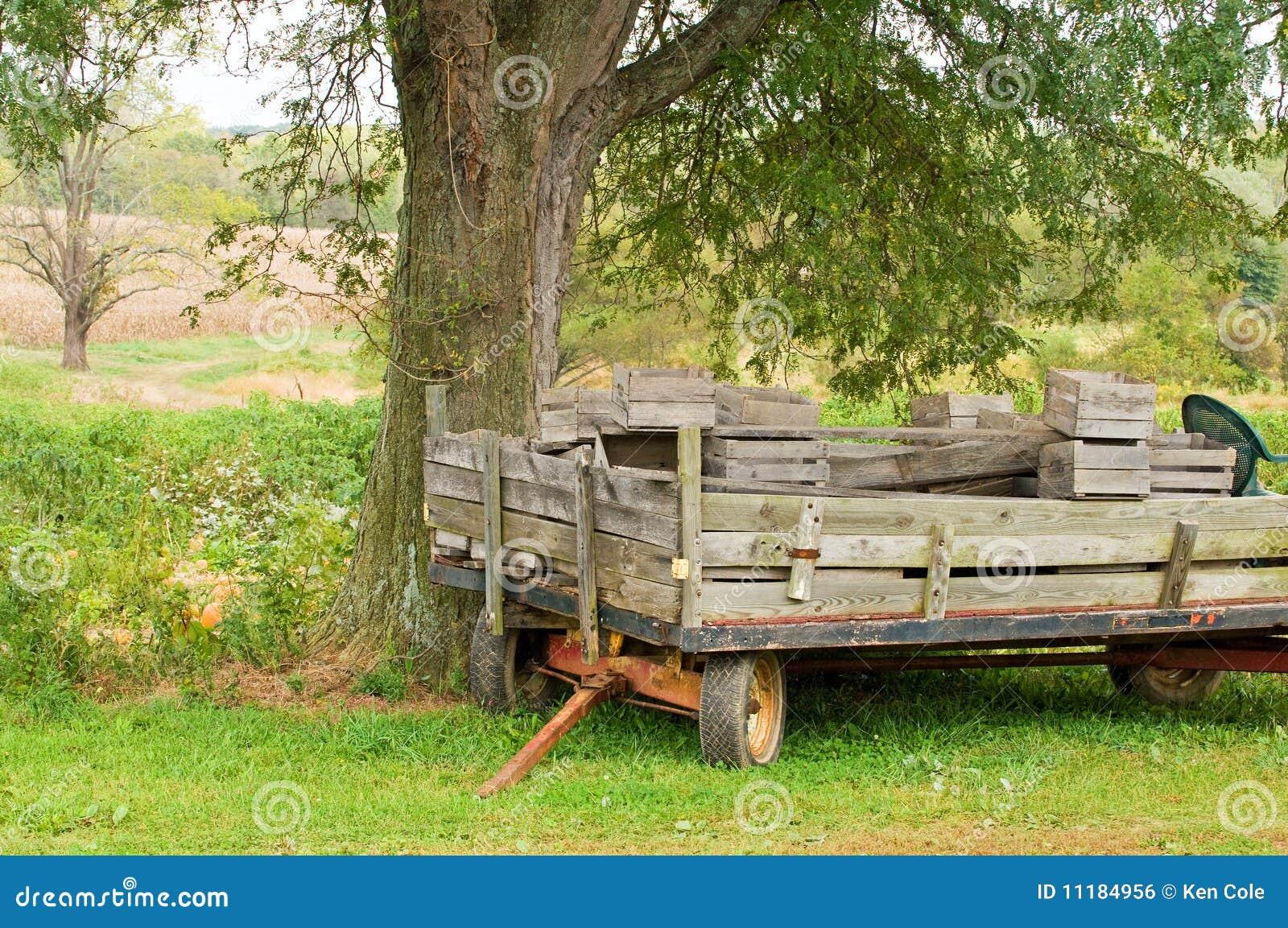 Electric Farm Wagon ~ Old farm wagon or trailer royalty free stock image