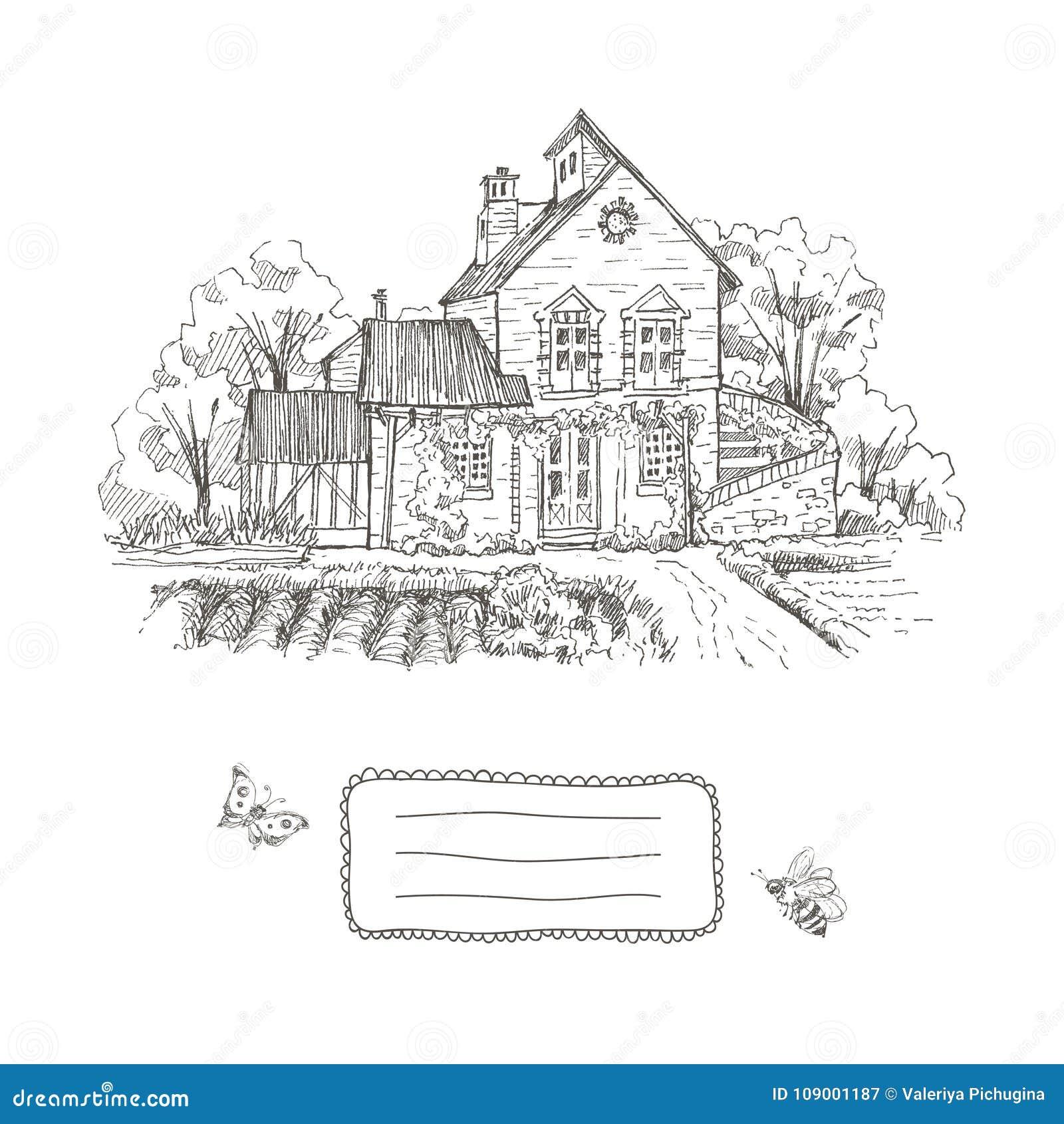 Old Farmhouse And Garden Illustration Frame For Text Hand Drawn Illustration Vector Design Stock Vector Illustration Of Historical Blossom 109001187