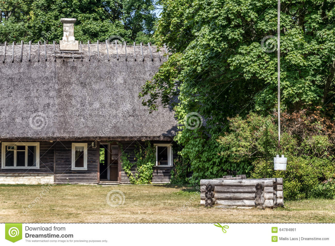 Download Old Farmhouse And Sweep Well Stock Image - Image of farmhouse, farmyard: 64784861