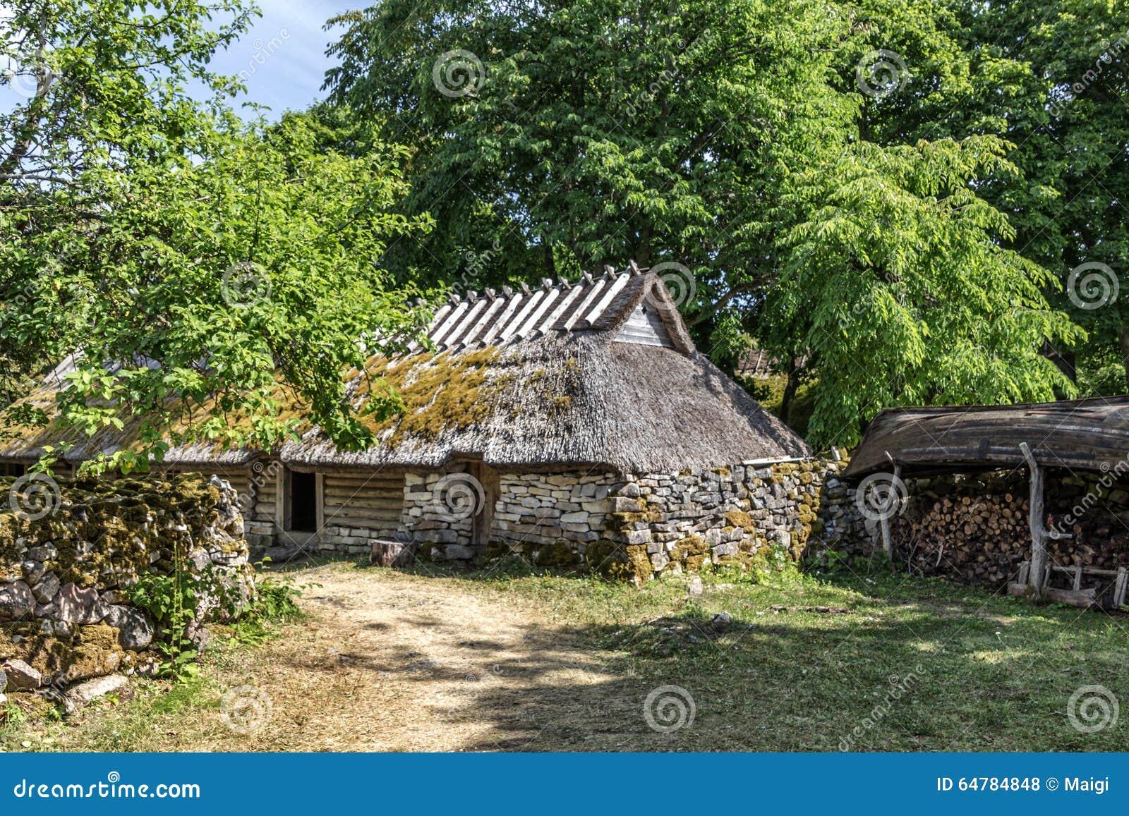 Download Old Farmhouse stock photo. Image of estonia, woodpile - 64784848