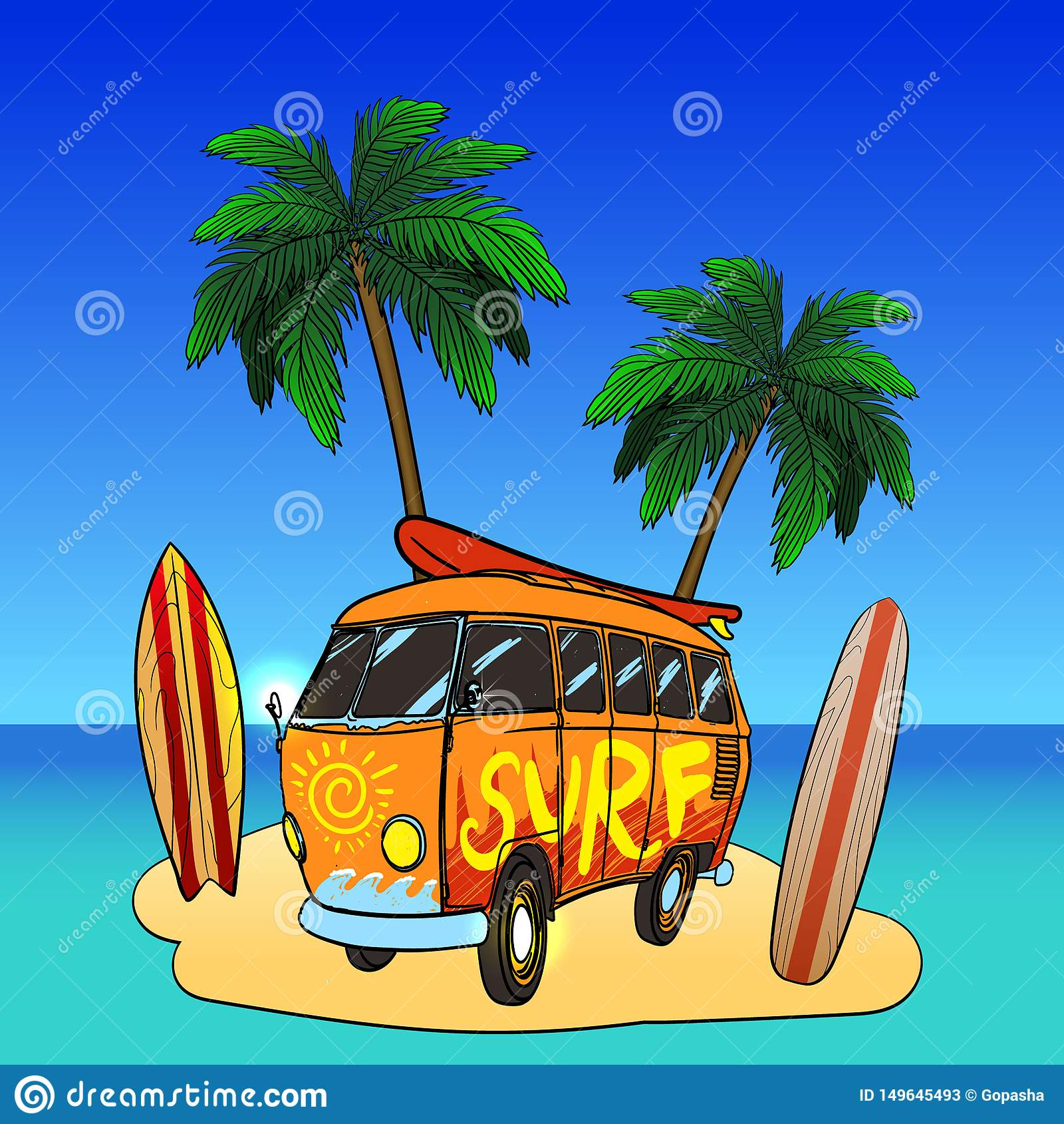 Old fashion bus with palm trees. Retro surf bus, surf symbols