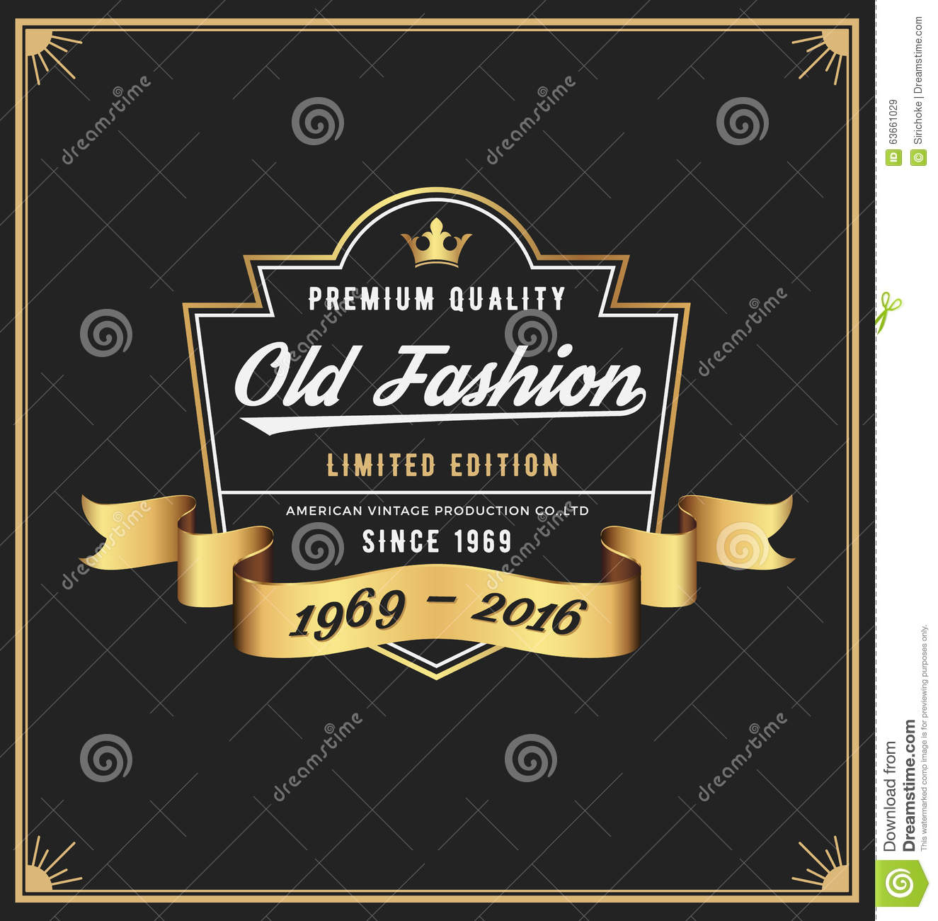 Old Fashion Frame Label Design Stock Vector Image