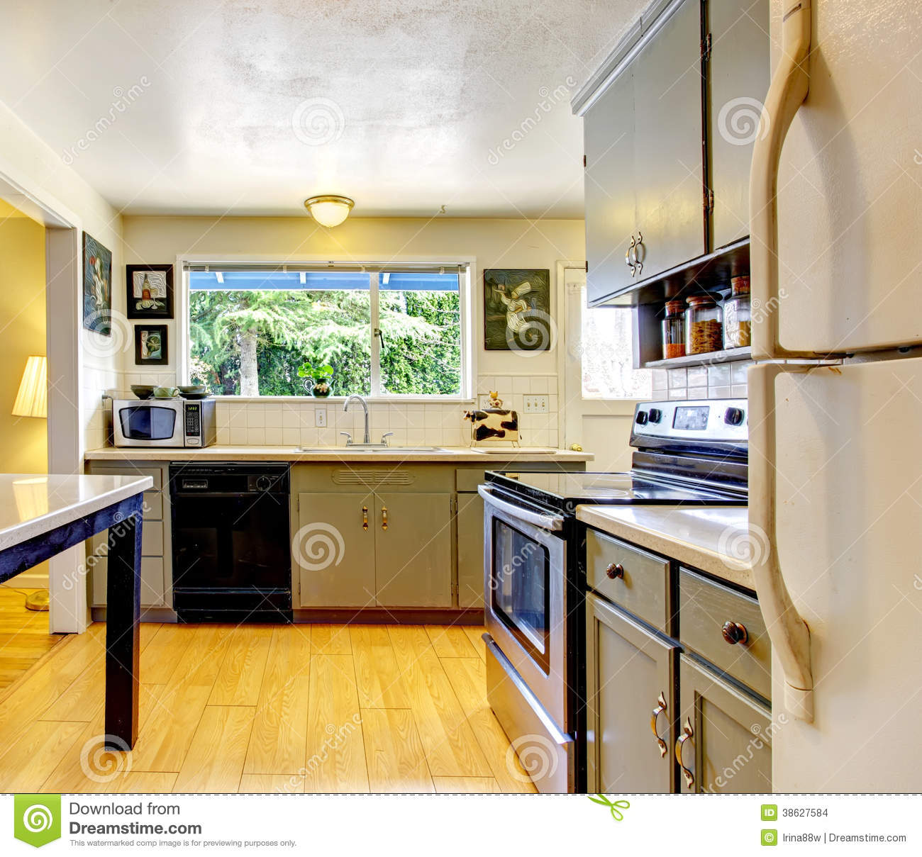 Old Fashion Small Kitchen Room Stock Photo