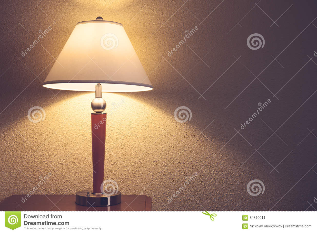 Download Old fashion table lamp stock image. Image of wall, wooden - 84810011