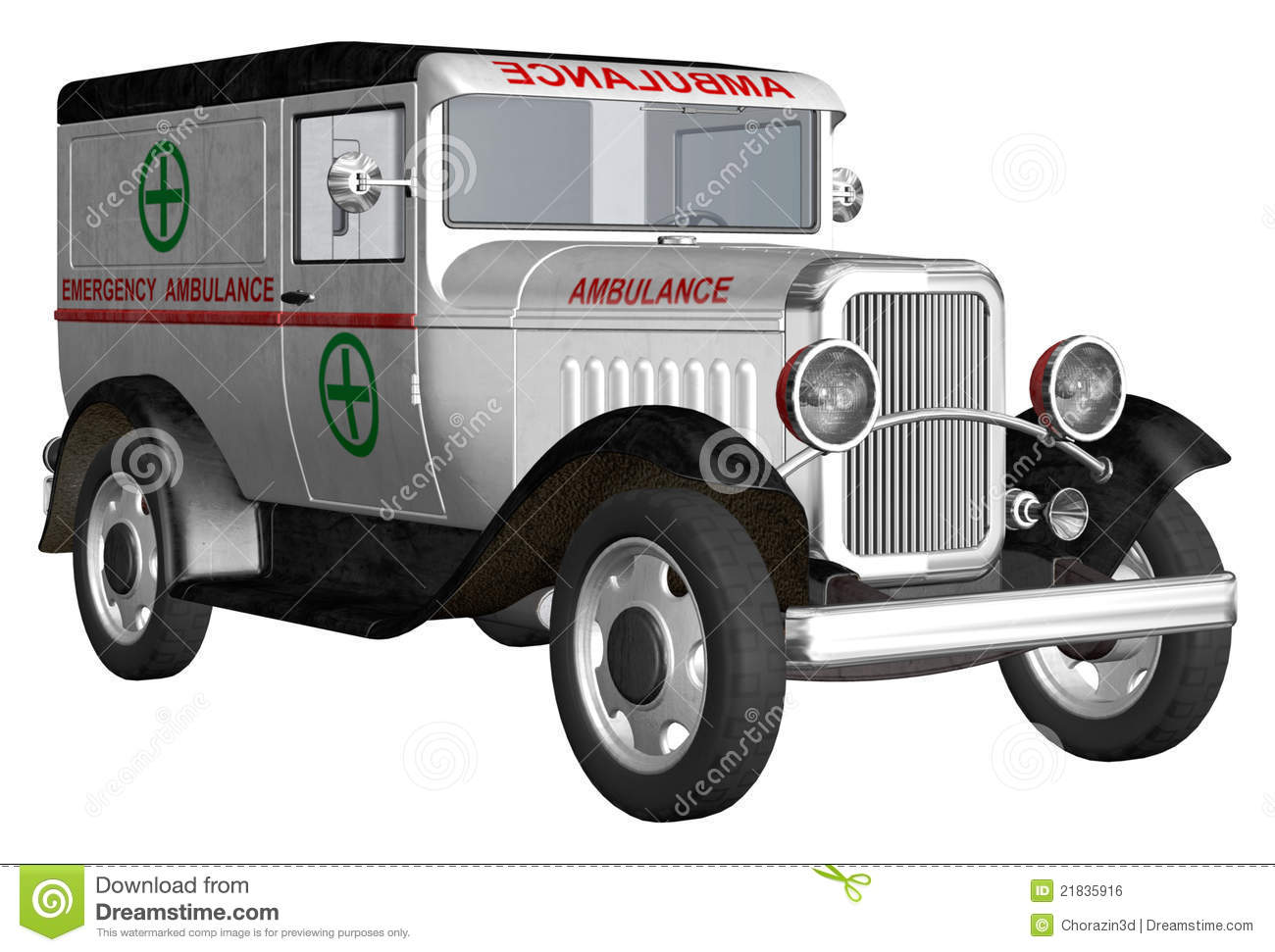Old-fashioned ambulance stock illustration. Illustration of black ...