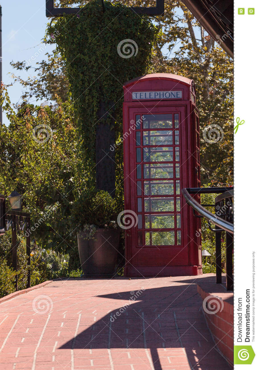 Old Fashioned Antique Classic Red Phone Booth Stock Image