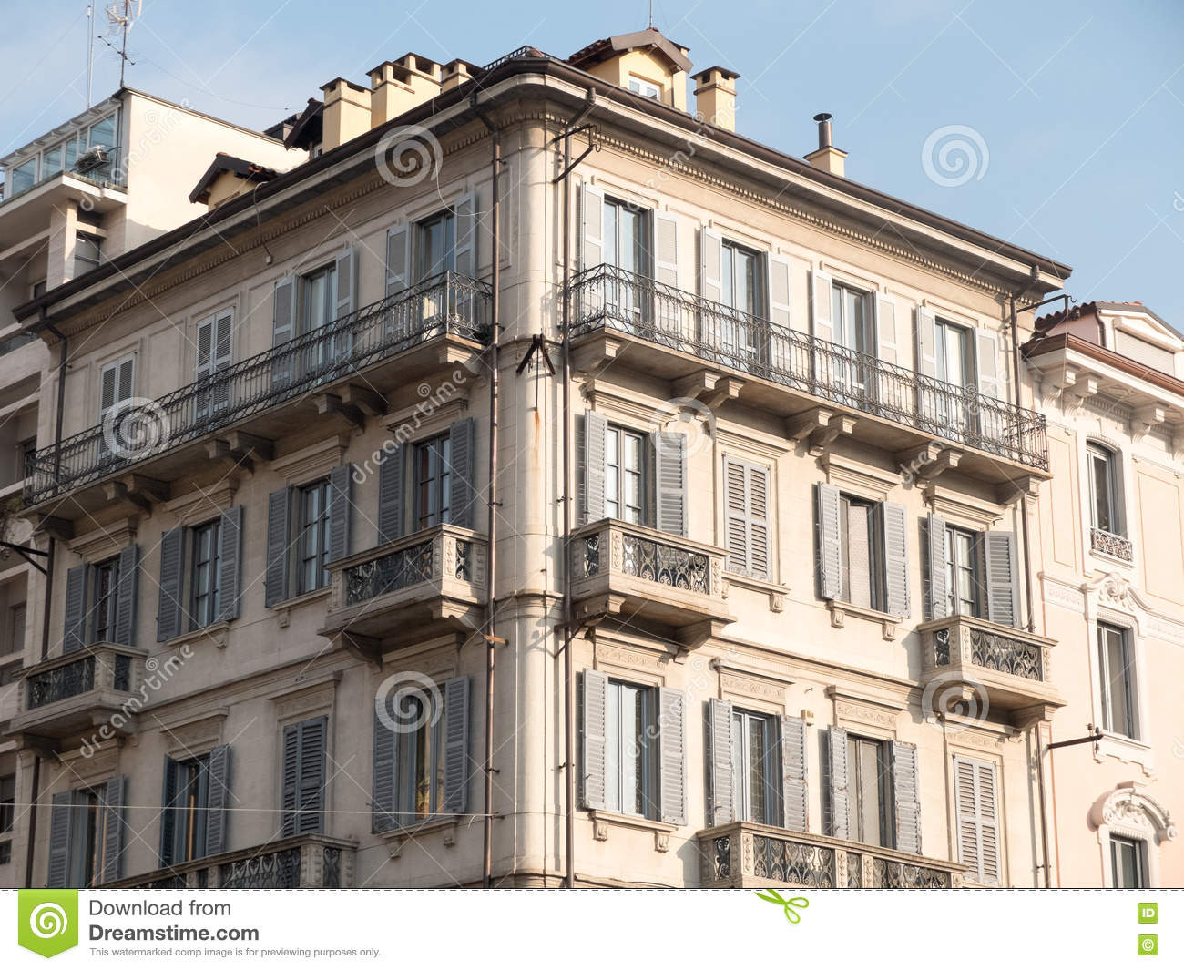 Old European Apartment Balconies Stock Photo - Image: 81237112