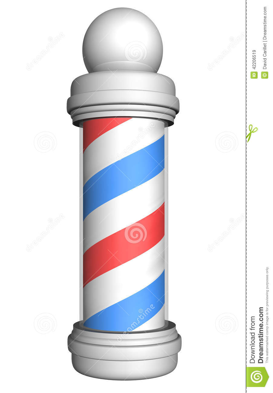 Old fashioned barber pole with red white and blue stripes rendered