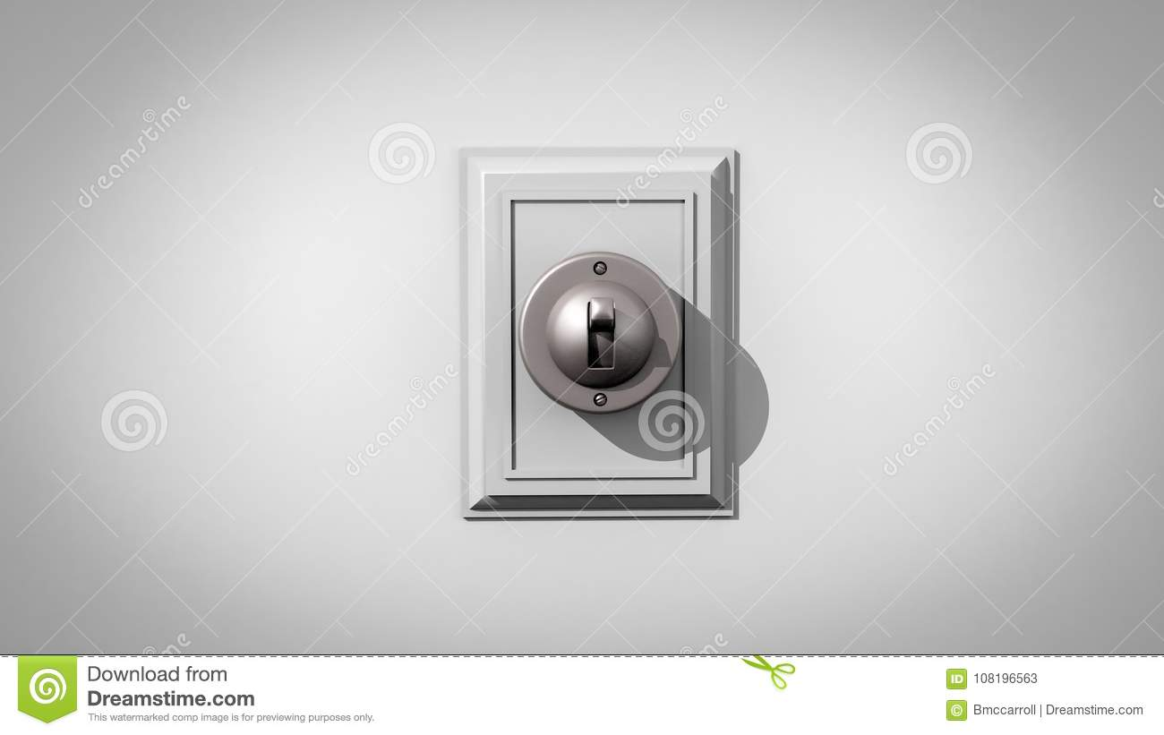 Old-fashioned Ceramic Light Switch Centered On A Gray Background ...