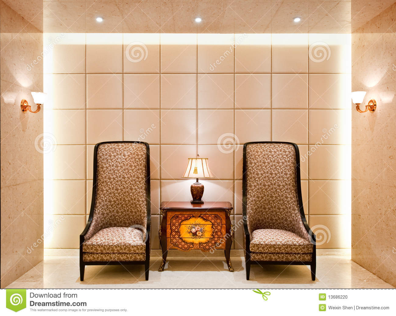 Old Fashioned Chairs And Side Table Stock Photo Image Of Wall - Old fashioned side table