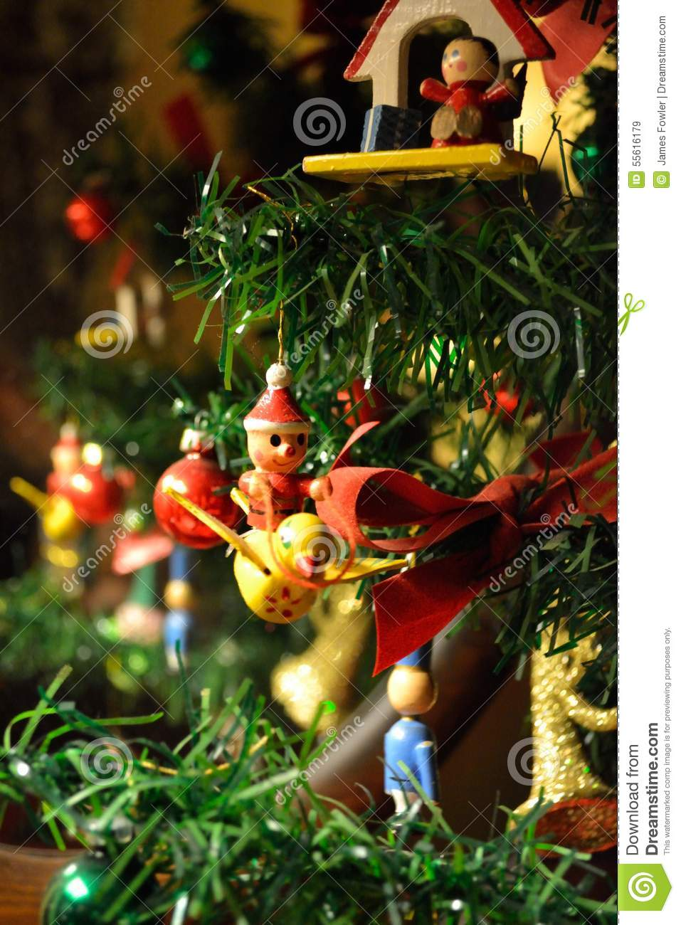 Old Fashioned Christmas Ornaments On A Tree Stock Image - Image of ...