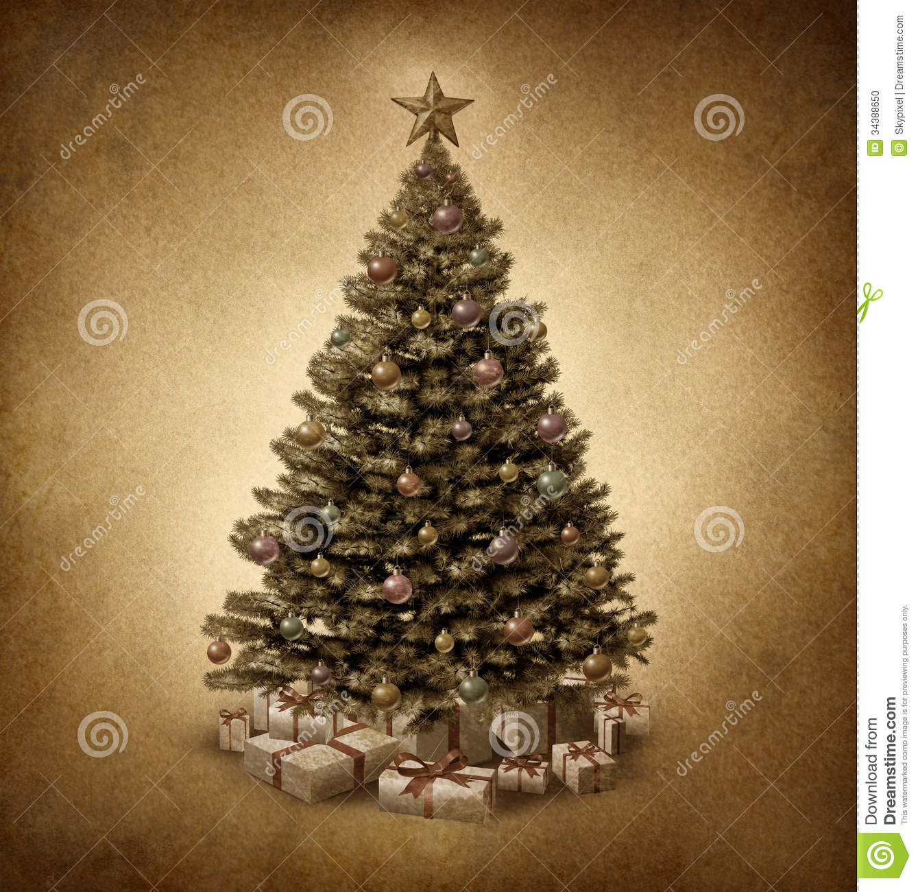 Old Fashioned Christmas Tree Stock Illustration - Illustration of ...
