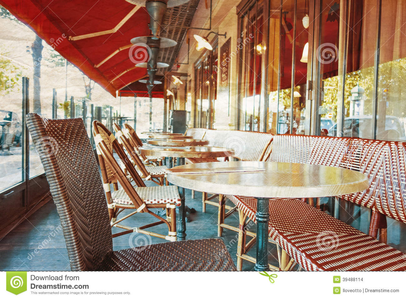 Old Fashioned Coffee Terrace With Tables And Chairs Paris France Stock Photo Image 39488114