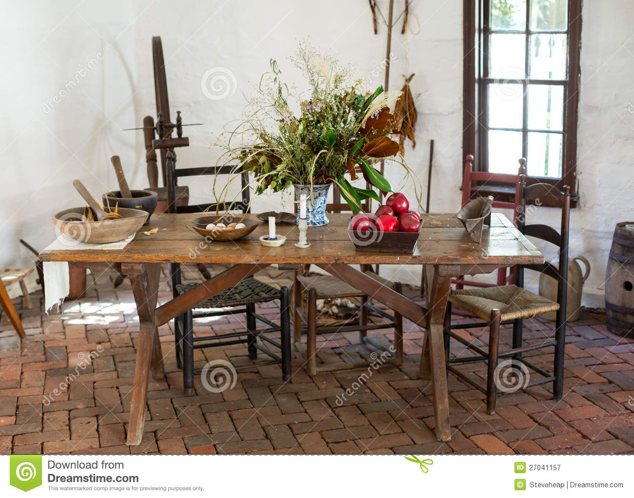 Old Fashioned Colonial Kitchen Table Stock Image Image