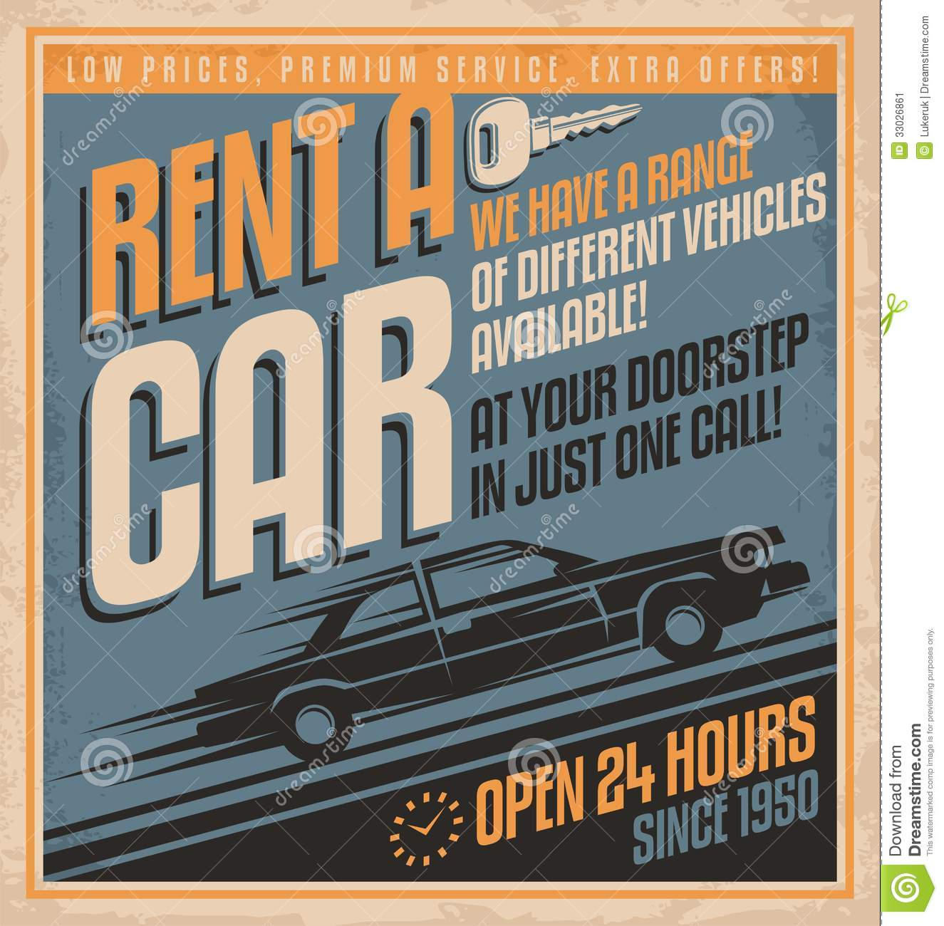 Poster design 50s - Old Fashioned Comics Style Rent A Car Poster Design Stock Image
