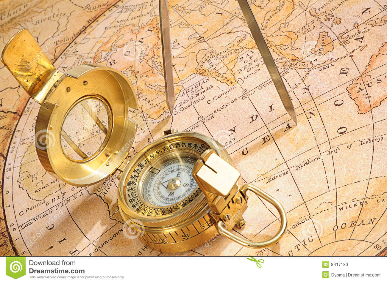 Old Fashioned Compass Stock Photo Image 8417180