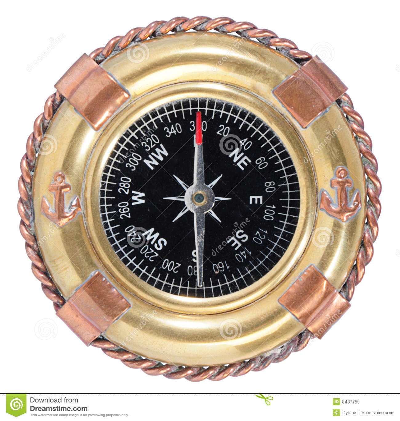 Old Fashioned Compass On White Royalty Free Stock Images