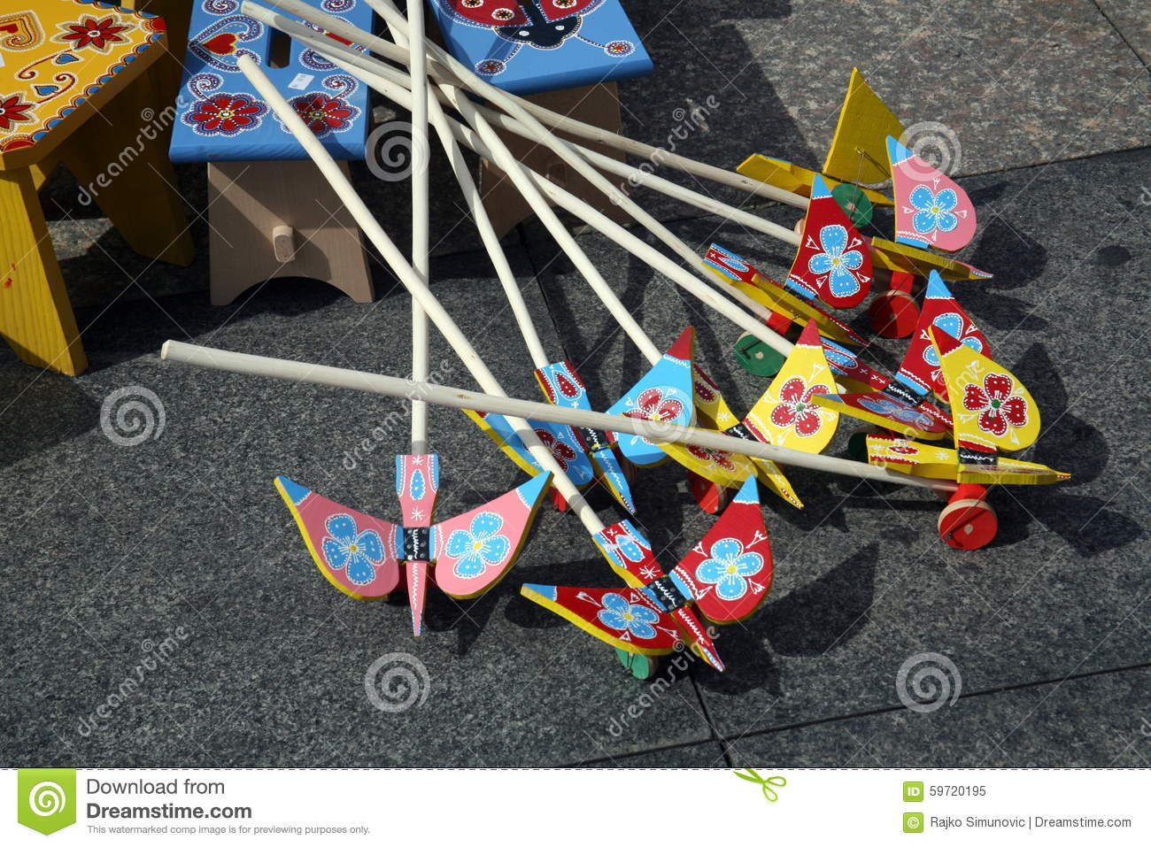 old fashioned croatian wooden toys for children stock image