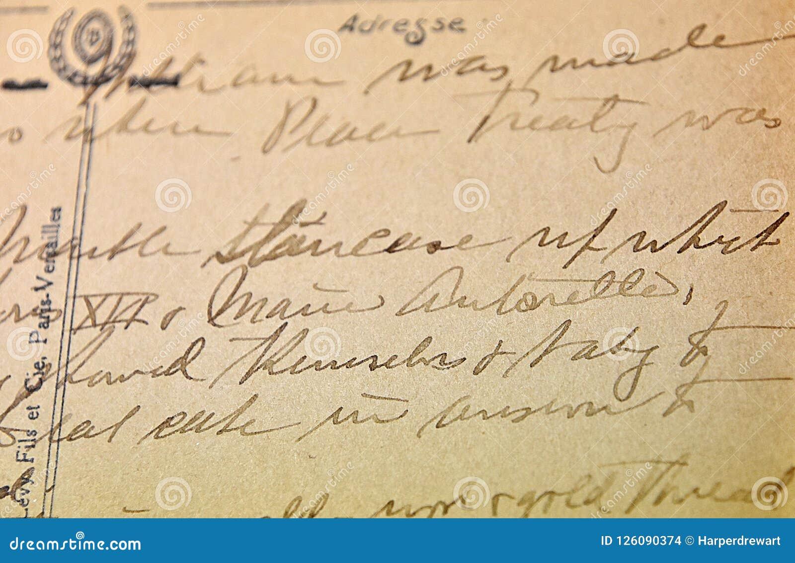 Vintage Handwriting Antique Script On Post Card Stock Photo