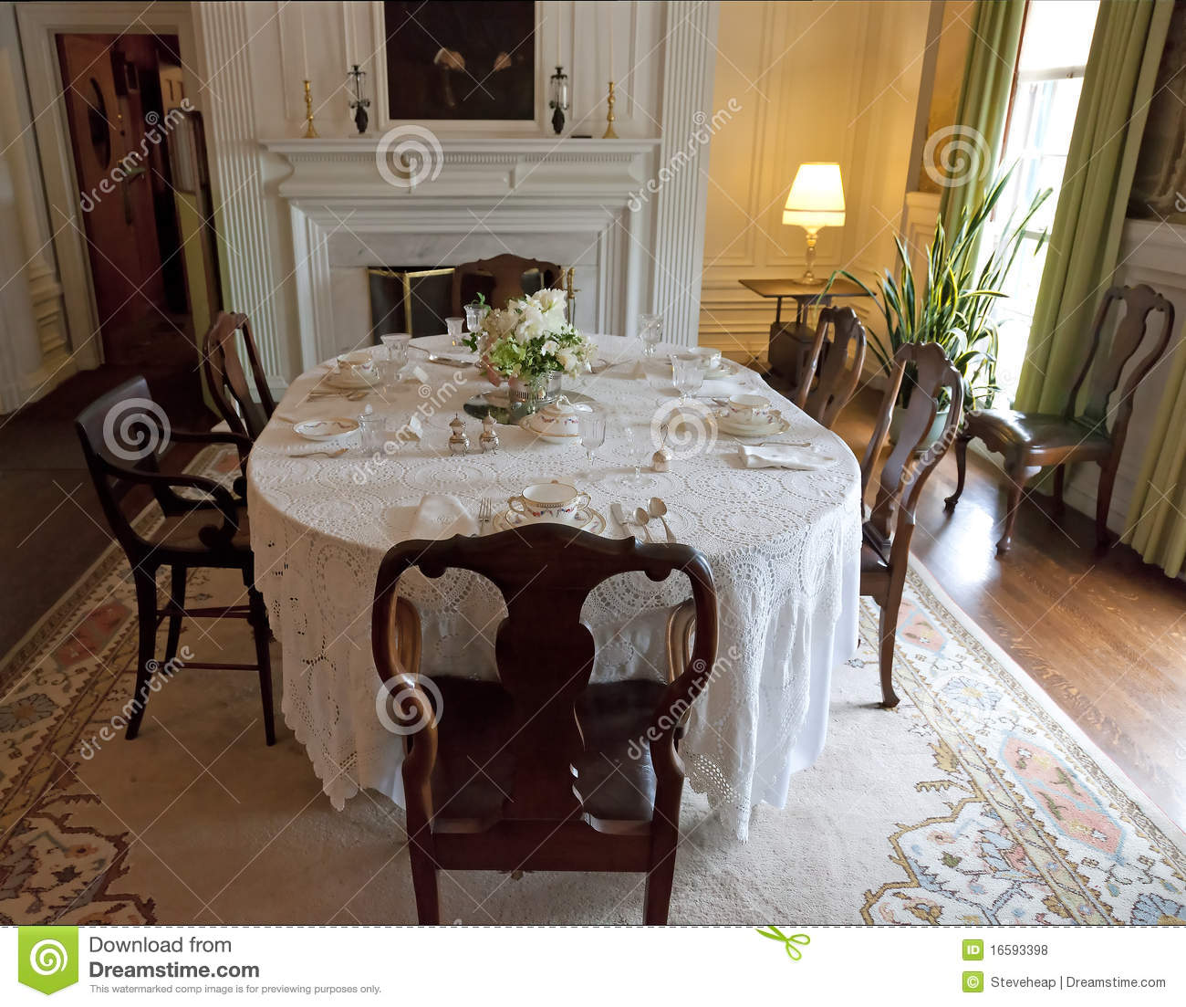 Old fashioned dining room royalty free stock photos for Old fashioned dining room tables