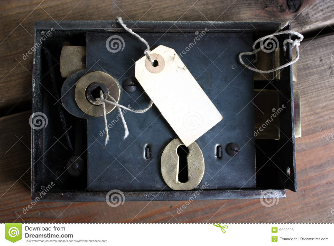 Old fashioned door lock and tag stock photo image of - Old fashioned interior door locks ...