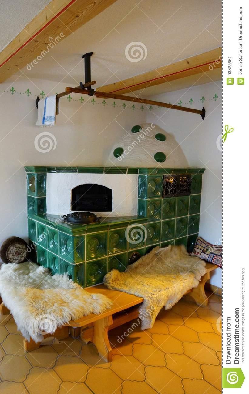 German House Designs: Old Fashioned German Tiled Stove Stock Image
