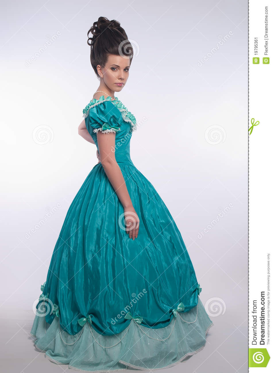 Old Fashioned Girl In Cyan Dress Stock Image Image 19795361