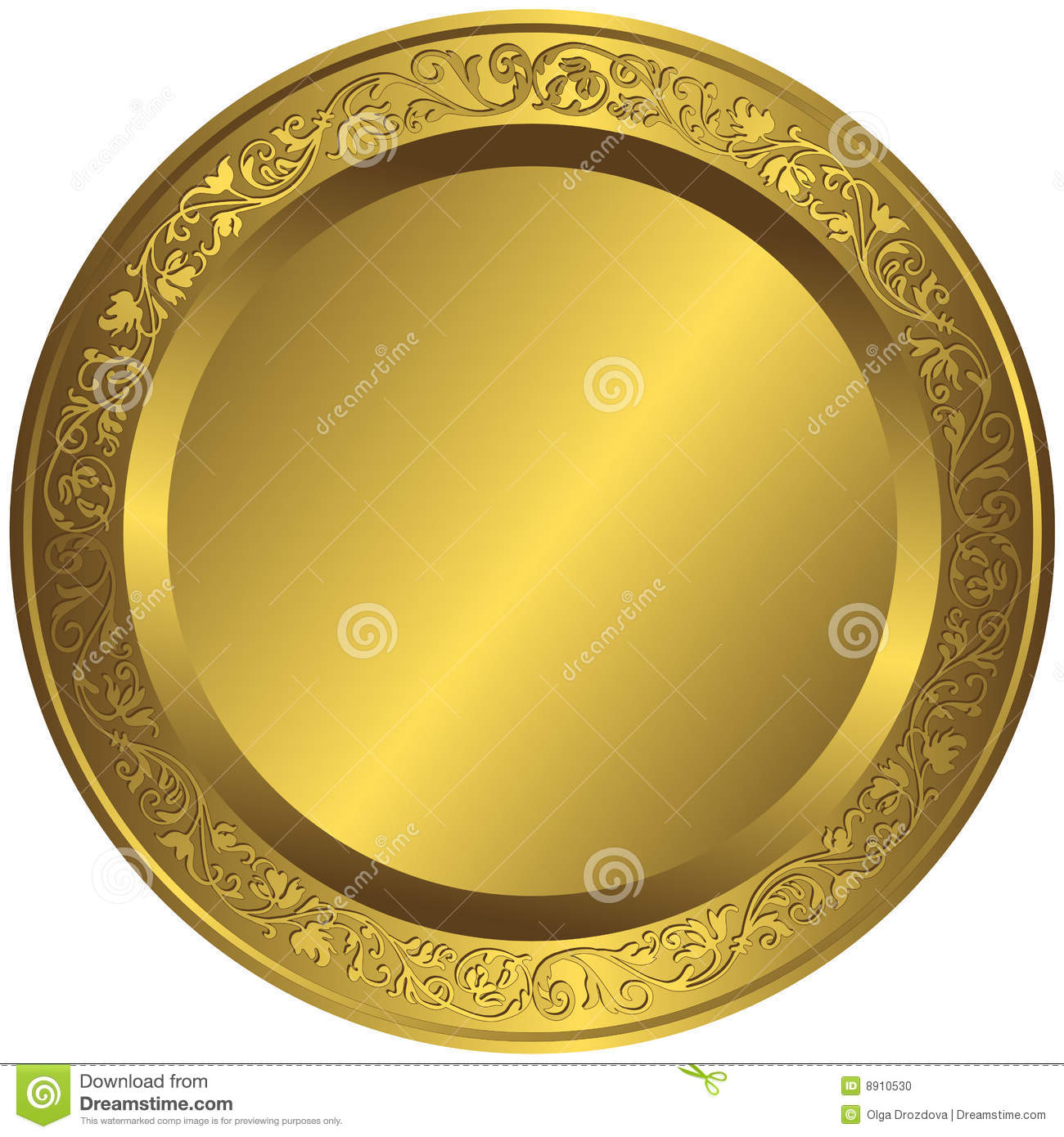 Old fashioned Golden Plate Stock Photo Image 8910530