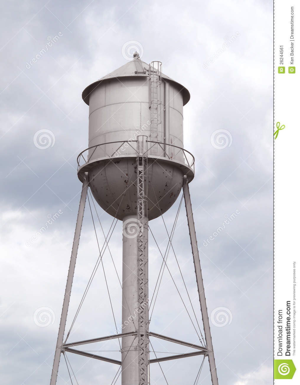 Old Fashioned Gray Metal Water Tower Stock Image Image