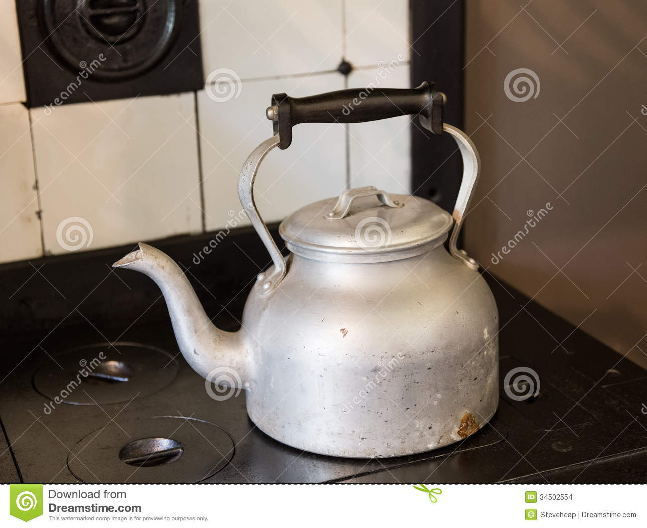 Old Fashioned Kitchen Hob ~ Old fashioned kettle on hob stock images image