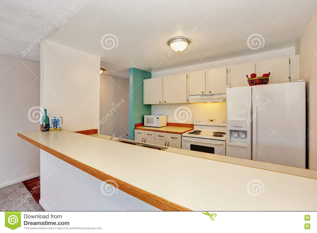 Old Fashioned Kitchen Interior Of American Apartment Condominium