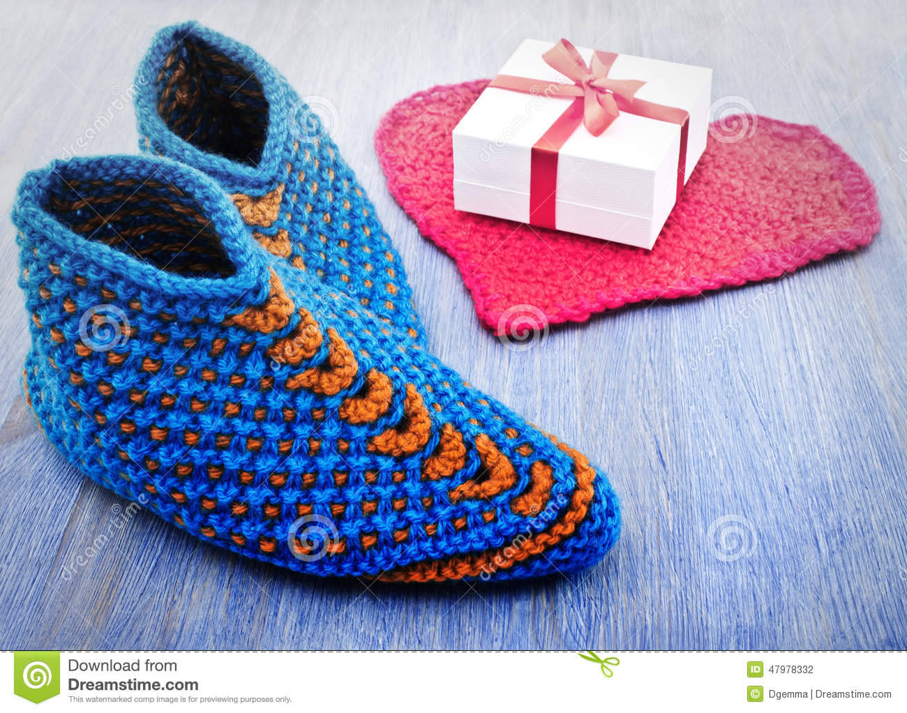 Knitting Patterns For Old Fashioned Slippers : Old Fashioned Knitted Slippers Stock Photo - Image: 47978332