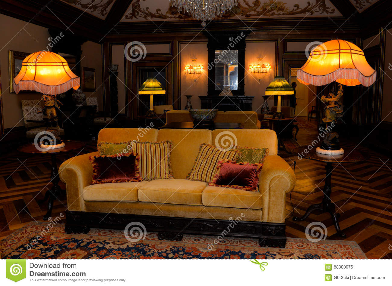 Vintage Palace Interior, Old Fashioned Living Room, Royalty Free Stock Photo