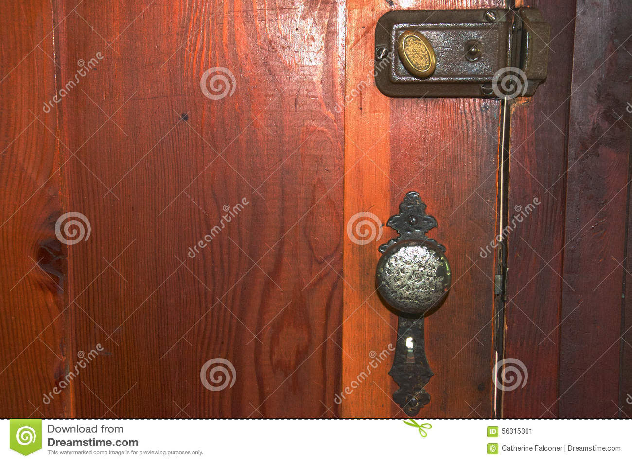 An Old Fashioned Lock Door Handle And Dead Bolt On A
