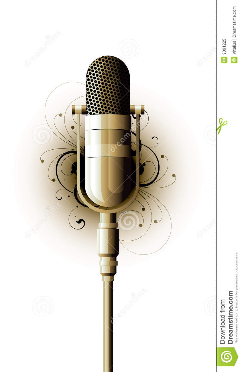 Old Fashioned Microphone Stock Vector Illustration Of