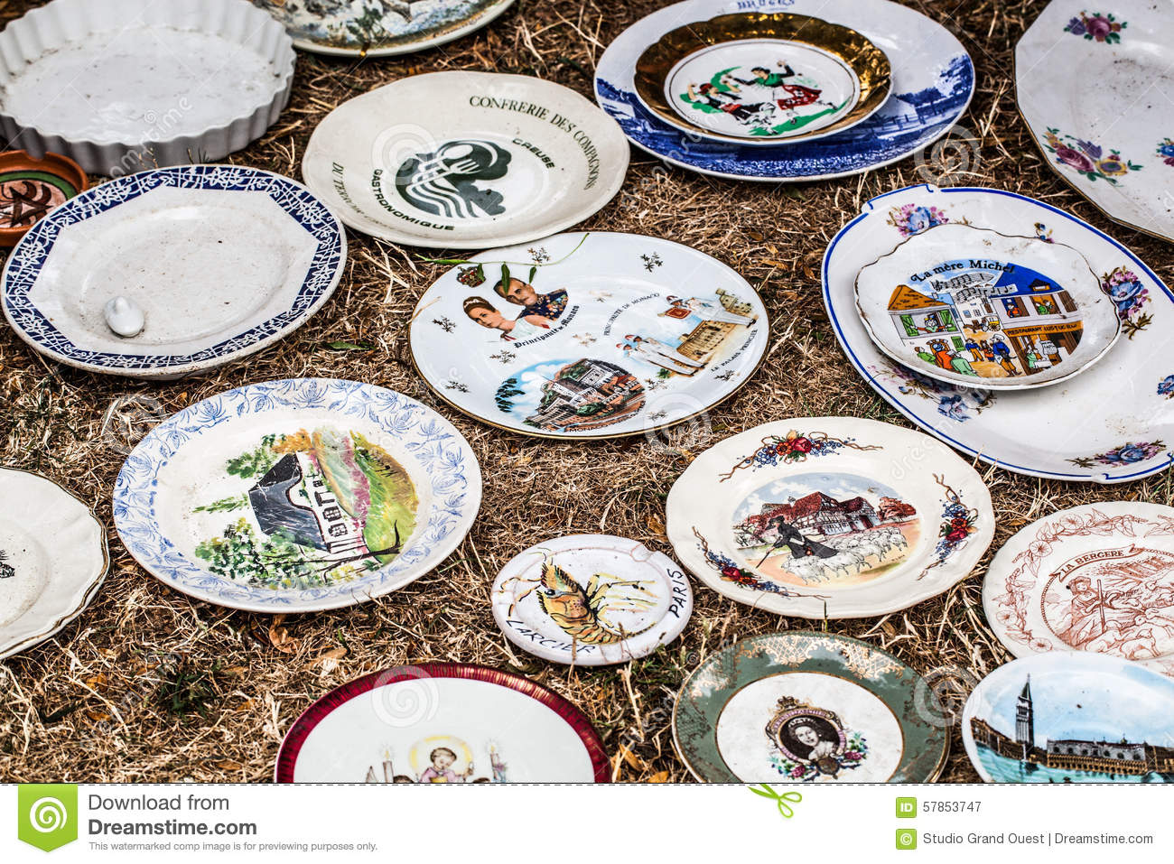Old Fashioned Painted Plates For Rustic Decoration Stock Image ...