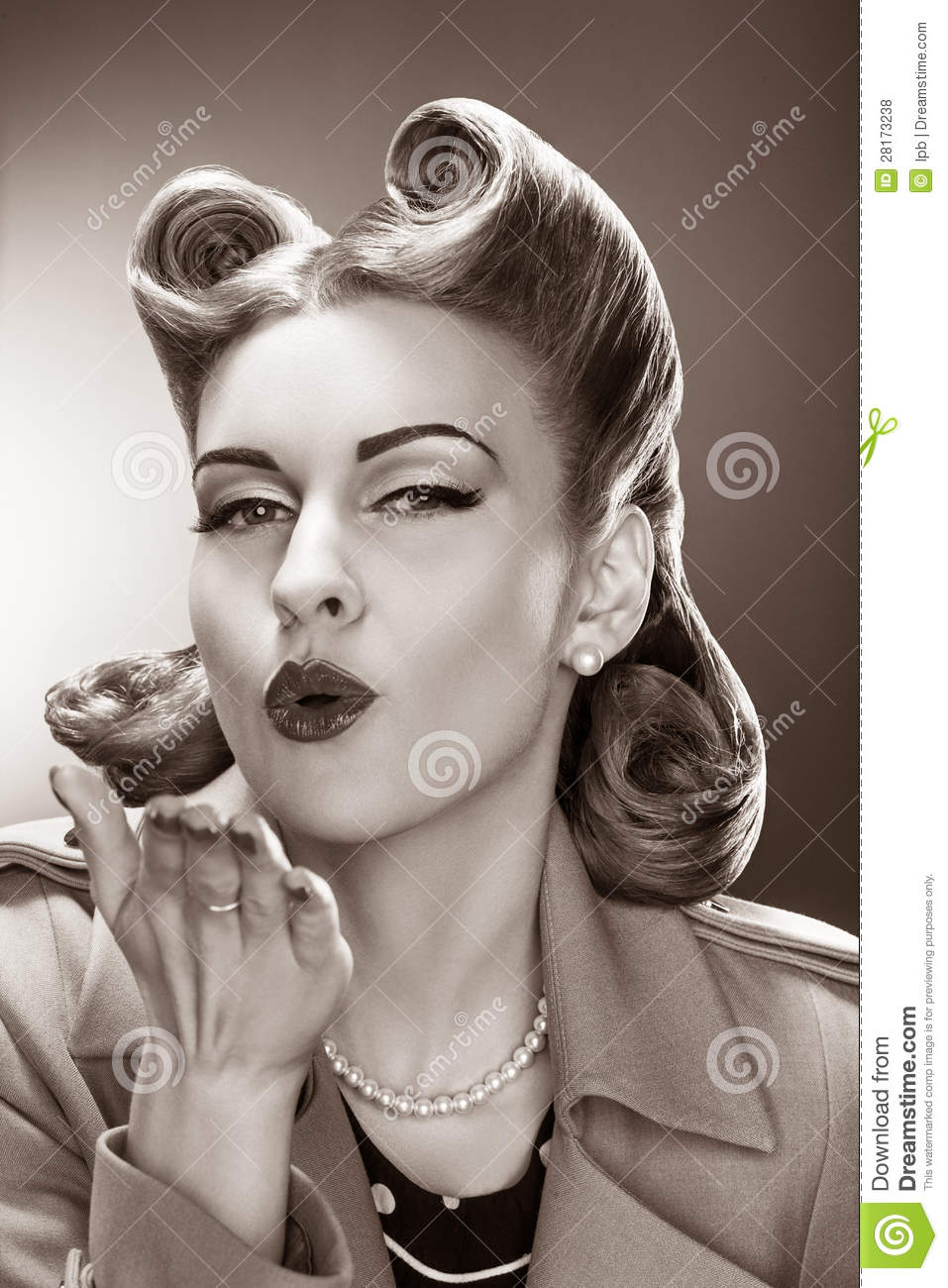 Old Fashioned Pin Up Girl Blowing A Kiss Retro Style