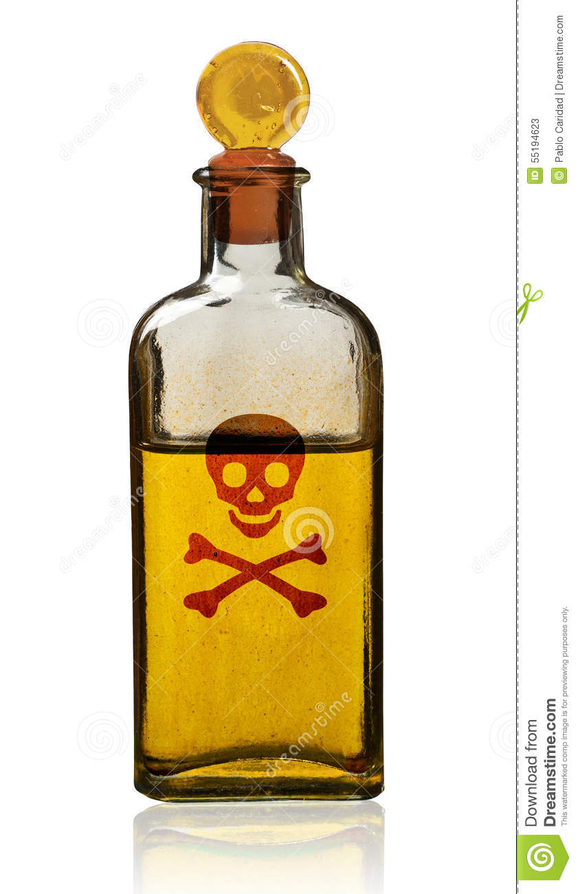 Old Fashioned Poison Bottle With Label Isolated Stock Image