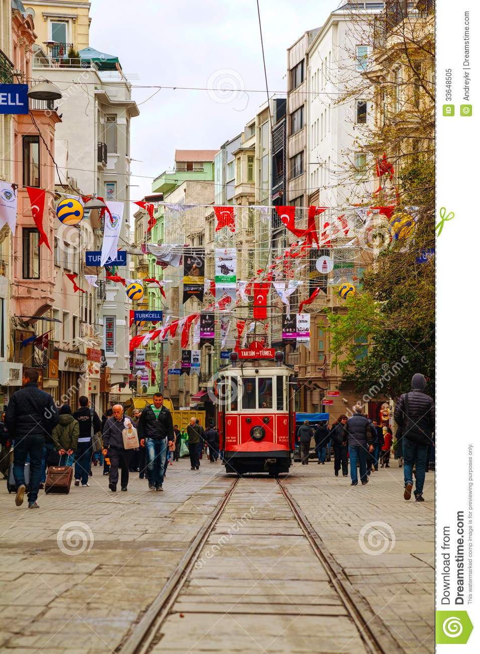 Old Fashioned Red Tram At The Street Of Istanbul Editorial